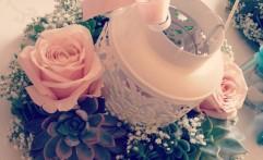Centrotavola con lanterna. Romantico e delicato.