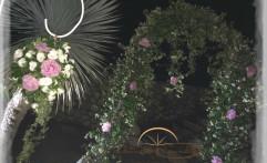 Fiori sui torni del bianco e del rosa.
