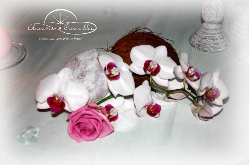 Dettagli sul tavolo della wedding cake.